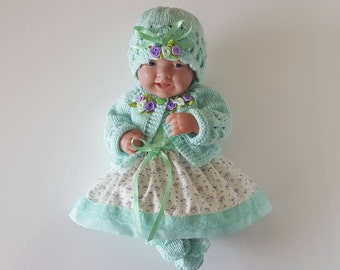 Baby Dolls Clothes Ensemble handmade for 14 inch dolls / BERENGUER / CUPCAKE / La Newborn / Reborn