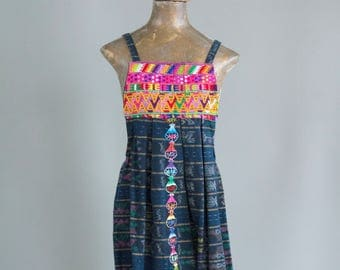 Vintage Hand Embroidered Mexican Indigo Dress