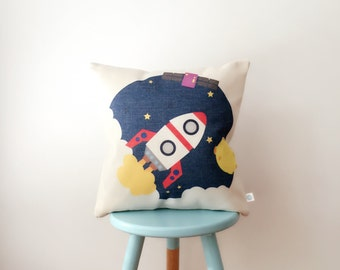 Fly Me to the Moon | Space Ship | Outer Space Kids Cute Retro Cushion Cover | Pillow Cover | Nursery Decor