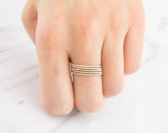 14K Solid gold ring, Stacking Rings,  Stackable ring, Stacking Ring, Twist gold Ring