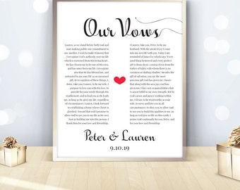 Wedding vows sign marriage promises christian church religious humanist traditions, CUSTOMIZED printable, new home decor ideas, DIGITAL