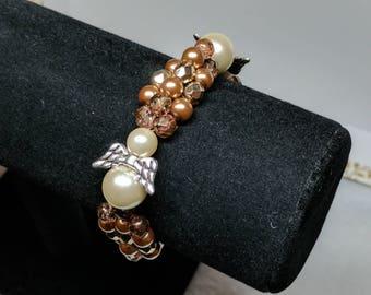 Golden Brown Angel Pearl Bracelet