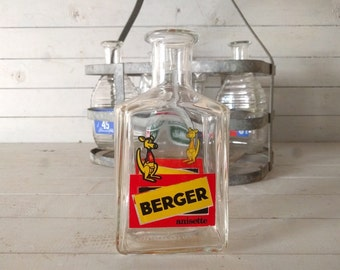 Berger Anisette Aperitif Branded Water Carafe / Pitcher, Original Vintage French Bistro Barware, Promotional Glassware Pastis