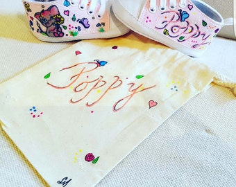Personalised baby canvas boots