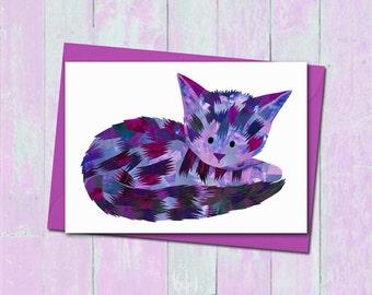 Cat greeting card, Custom colours, Unique cat card, Blank card, Cat print, Paper collage art, Cute animal greeting card, Cute cat art card