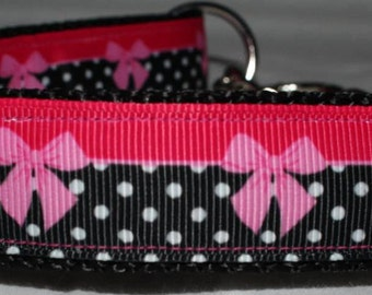 "Dots & Bows Collar - Choose Side Release Buckle or Martingale  (1"" Width)"