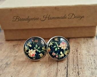Navy Rose Earrings, 12mm Round Glass Cabochon Earrings, Flower Earrings, Stud Earrings, Preppy Earrings, Vintage Look Earrings