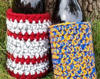 Crochet Bottle or Can Beverage Holders, Custom Drink Insulator, Crochet Insulated Bottle or Can Holders