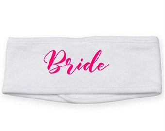 Bride Headband, Bride to be gift, Bridesmaid gift, make up band, wedding day gift, personalised gift for her, spa headband, beauty hairband