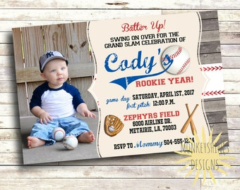 Baseball Birthday Invitation - 1st Birthday - Rookie Year - Little Slugger