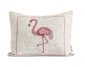 Rustic Flamingo Pillow, Pink Linen Flamingo Pillow, Tropical Decor, Flamingo Cushion With Insert, Gift For Her, flamingo Art