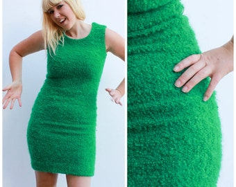 Vintage 60s Fitted Wool Dress / Astroturf realness! / Size 8-10