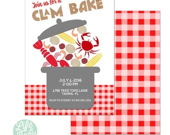 Clam Bake Invitation | Low Country Boil Invitation | Lobster Party Invitation | Crab Invitation - 5x7 with reverse side
