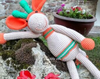 Handmade crochet giraffe. Amigurumi
