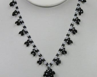 Black and White Blooming Vine Necklace