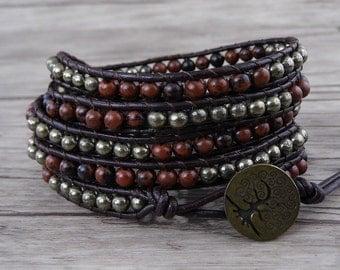 5 wraps bracelet leather waps bracelet mahagony stone beadsbracelet Boho beads Bracelet Pyrite Bracelet bead boho bead wrap bracelet SL-0530