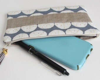 SAND DOLLAR Zippered Pouch, Pencil Case, Small Makeup Bag, Storage Pouch, Coin Purse, Cosmetic Pouch, Zippered Bag, Beach Case,