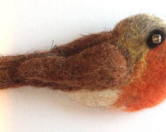 "Needle Felted Brooch Robin, ""Robin Red Breast"" Handmade, Cute, Handmade Brooch, Great Gift For Her or Him, Red"