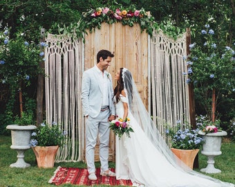 Bohemian Macrame wedding backdrop Custom Curtain Large Room