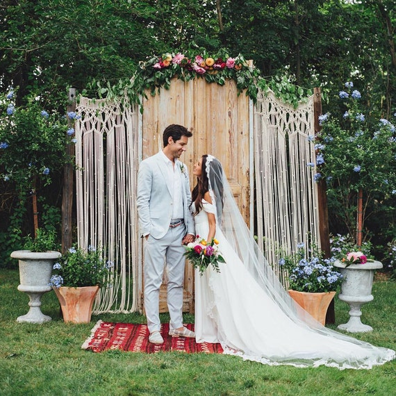 Breathtaking Bohemian Outdoor Wedding Altar: Macrame Wedding Arch Bohemian Photo Backdrop Custom Curtain