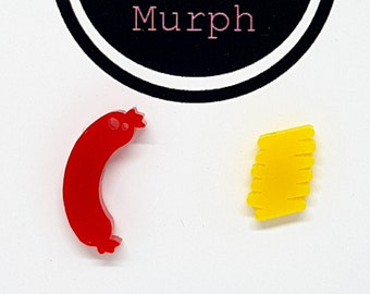 Laser Cut Acrylic Hotdog & Mustard Earrings Studs