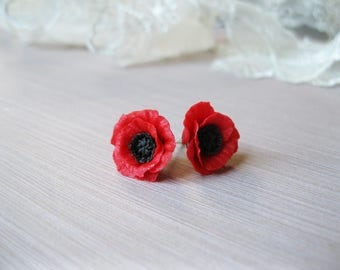 Thank you gift-for-friend birthday gift-for-sister jewelry gif for flower girl gift Red poppy stud earrings Summer gifts best selling items