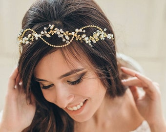 GLIMMERY GOLD | Wedding headpiece bridal hair vine golden bridal tiara