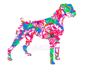 Boxer Decal | Lilly Pulitzer inspired Boxer Decal | Boxer Car Decal | Boxer MacBook Decal | Dog Car Decal | Dog Decal | Boxer Accessories