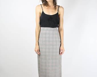 50s Plaid Pencil Skirt, 1950s vintage grey plaid High waist wiggle skirt, Medium 3992