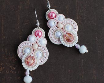 Soutache dangle earrings, Pink and white earrings, Embroidered earrings, Crystal earrings, Soutache jewelry, Gift for her, FREE SHIPPING