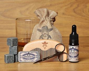 Honest Outlaw Mens Beard Grooming Kit - Bourbon Oak - Whiskey Stones - Beard Oil - Beard Comb - Scissors - Beard Wax - Gift for Groomsmen