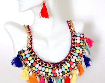 Tribal Necklace, Colorful Necklace, Multicolor Necklace, Fringe Necklace, Beach Necklace, Boho Style, Bib Necklace,  Shell Tassel Necklace