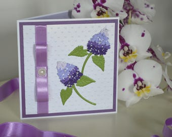 Purple greeting card with flowers, All occasion card, Bday card, Card with lilac, Card for mom, Birthday gift card