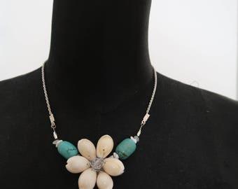 Handmade necklace with genuine Handmade turquoise shell necklace with seashells and turquoise