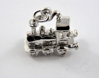 Train Engine Sterling Silver Pendant or Charm.