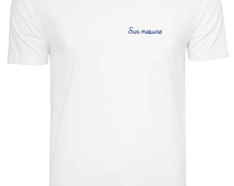 Men white with custom embroidery tee / / hand embroidery / / EVG / / Valentine's day / / unique and original gift idea / / Mr