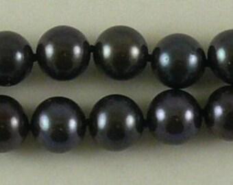 Freshwater Black 7.7mm - 8.6mm Pearl Double Strand Bracelets 14k White Gold Lock