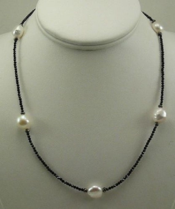 Freshwater White Pearl, Black Spinel and Hematite Necklace with Silver Clasp
