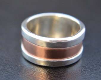 Fine Silver and Copper Wedding Band, Engagement Band, Promise Ring, Artisan Ring, Rustic Band