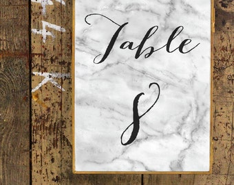 Marble Table Numbers | Printable Wedding Table Numbers | Modern