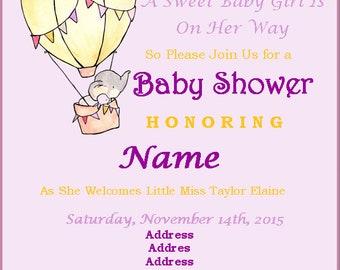 Elephant Baby Shower Invite and Diaper Raffle