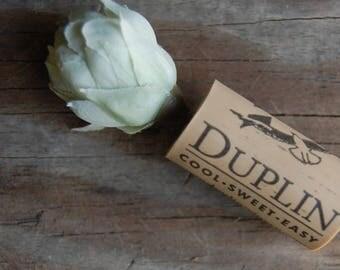 Botanical Wine Cork Magnet Light Blue-Green Flower on Duplin Wine Cork