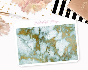 Marble Header Planner Stickers - Watercolour Mint & Gold Foil Vein // Perfect for Erin Condren Vertical Life Planner