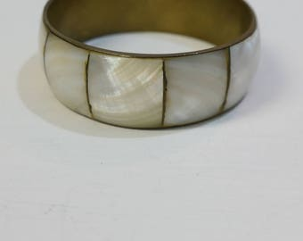Vintage large brass and mother of pearl bracelet