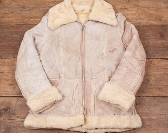 Womens Vintage C&A Sheepskin Shearling Leather Jacket M Size 10 R4621
