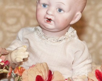 """Antique Doll  German Character Bisque Doll Painted Eyes 8"""" Baby Doll - 1266"""