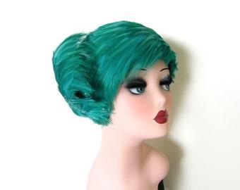 Vintage Aqua Green Feather/ Show Girl Hat~ George Zamaul New York