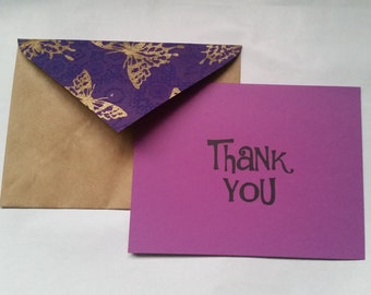 Thank You Cards Handmade Recycled Stationery - Set of 10
