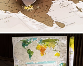 "World Map Scratch Travel Map with Push Pins 34.6"" x 23.6"""