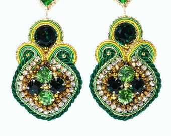 Soutache Earrings Emerald Green Gold